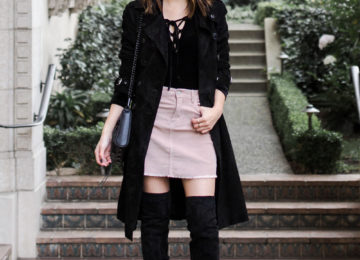 Rebecca Minkoff Amis suede trench coat, velvet lace up bodysuit, pink corduroy skirt, over the knee boots, rebecca minkoff mini mac quilted